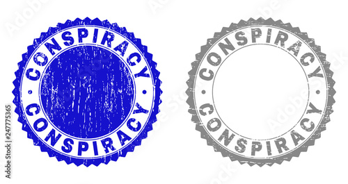 Fotografie, Obraz  Grunge CONSPIRACY stamp seals isolated on a white background