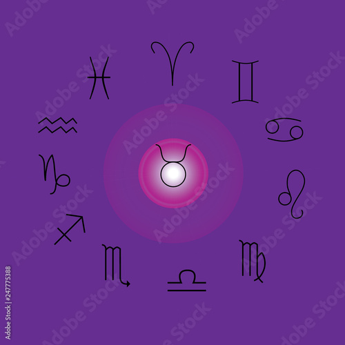 Astrological signs, Symbols of zodiac, horoscope, astrology and