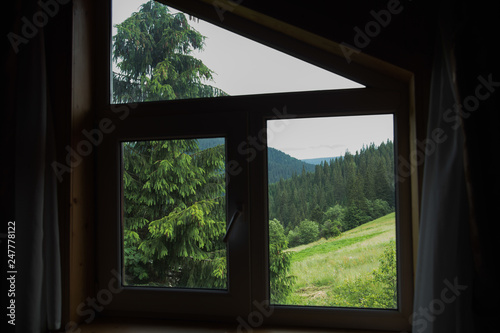Amazing green view through window of wooden rustic house in countryside. Horizontal color photography.