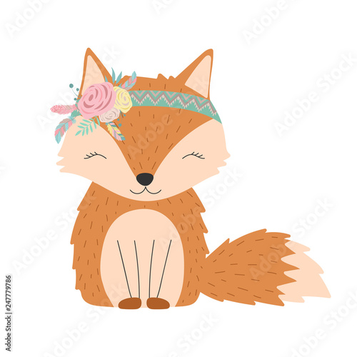 Photo sur Aluminium Style Boho Ð¡ollection of hand-drawn boho cute fox with flowers and feathers. Vector by national american motifs for baby shower, cards, flyers, posters, prints, holiday, clothes, children