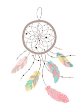 Vector Image Of A Dreamcatcher In Boho Style With Colorful Feathers. Hand-drawn Illustration By National American Motifs For Baby, Cards, Flyers, Posters, Prints, Holiday, Children, Home, Decor