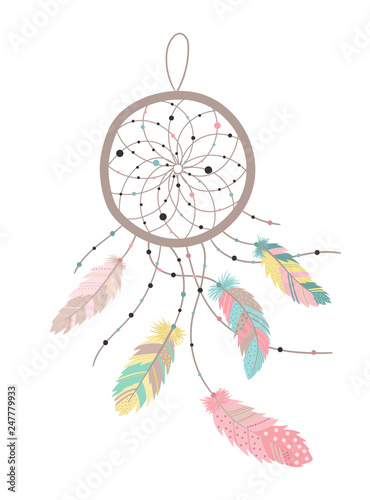 Foto-Lamellenvorhang - Vector image of a dreamcatcher in boho style with colorful feathers. Hand-drawn illustration by national American motifs for baby, cards, flyers, posters, prints, holiday, children, home, decor (von Anton)