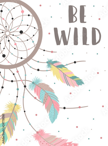 Foto-Lamellenvorhang - Vector image of a dreamcatcher in boho style colorful feathers and dots with words Be Wild. Hand-drawn illustration by national American motifs for baby, cards, flyers, posters, prints, holiday, child (von Anton)