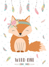 Ð¡ollection Of Hand-drawn Boho Cute Fox With Words Wild One. Background Of Feathers And Polka Dots. Vector By National American Motifs For Baby, Cards, Flyers, Posters, Prints, Holiday