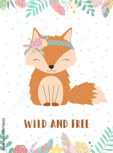 Foto-Lamellenvorhang - Ð¡ollection of hand-drawn boho fox with words Wild and Free. Illustration of polka-dots, flowers and feathers. Vector by national american motifs for baby, cards, flyers, posters, prints, holiday (von Anton)