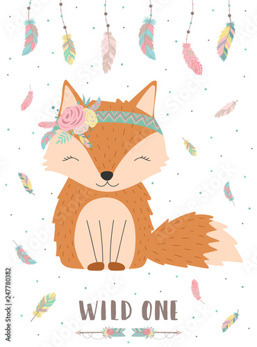 Foto-Lamellenvorhang - Ð¡ollection of hand-drawn boho cute fox with words Wild one. Background of feathers and polka dots. Vector by national american motifs for baby, cards, flyers, posters, prints, holiday (von Anton)