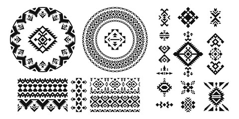 Set of Ethnic decorative elements in geometric style.