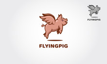Flying Pig Vector Logo Templat...