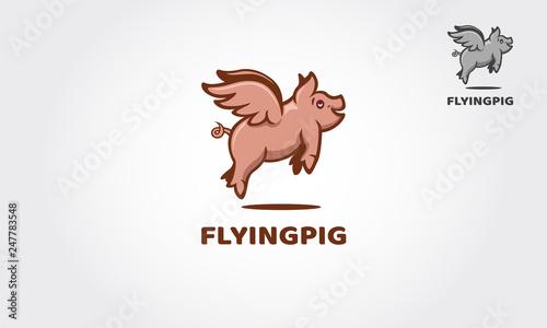 Fotografie, Obraz  Flying Pig is illustrated and fantasy logo design