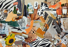 Mood Board Collage In Nature Summer Style Made Of Teared Waste Recycling Paper Results In Art