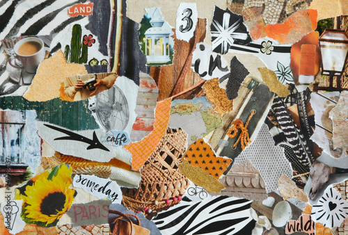 Obraz Mood board collage in nature summer style made of teared waste recycling paper results in art - fototapety do salonu