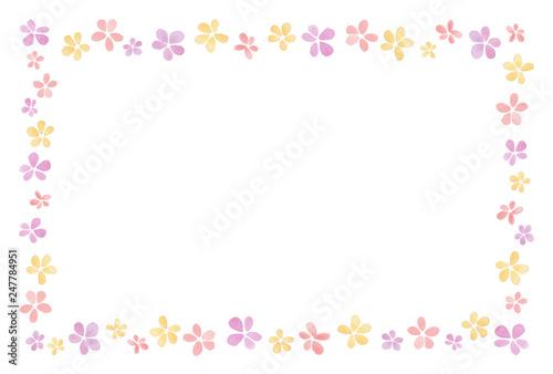 Fotografía  花のフレーム 水彩 暖色