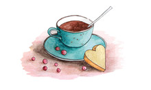 Cup Of Tee With Cookie. Watercolor Drawing Vector Illuctration