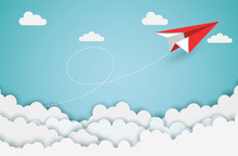 Concept Of Business Success, Paper Plane Red Flying On Sky While Flying Above A Cloud. Beautiful Natural Landscape. To The Target. Startup. Creative Idea.  Illustration Cartoon Vector