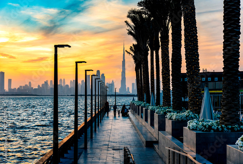 Vászonkép  Dubai landmark skyline view at sunset