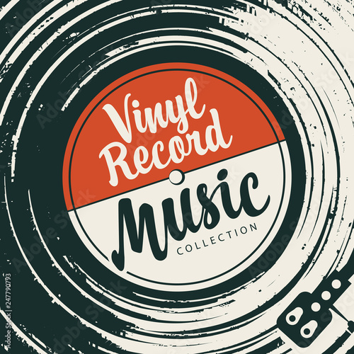 Vector poster or cover with vinyl record, record player and calligraphic lettering in retro style