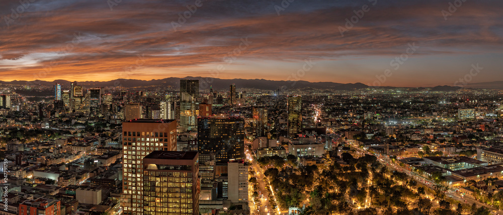 Mexico city aerial view panorama