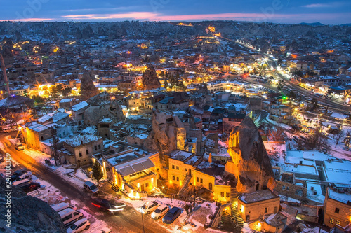 Photo sur Aluminium Mexique The great tourist place Cappadocia - at night time with beautiful light. Goreme, Cappadocia, Turkey