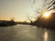 sunset, river, water, landscape