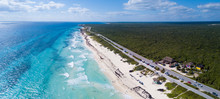 Aerial View Of Playa Chen Rio Beach In Cozumel