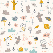 Seamless Childish Pattern With Mouses, Snails And Flowers