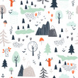 Seamless childish pattern with trees, mountains and clouds
