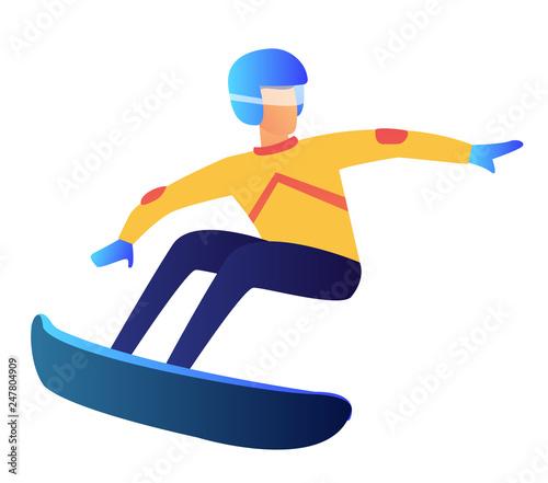 Snowboarder Riding Vector Illustration Winter Sport
