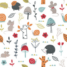Seamless Childish Pattern With Mouses, Snail, Hedgehogs And Mushroom