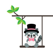 Cartoon Cute Raccoon With Hat And Tie On A Swing And On A Branch