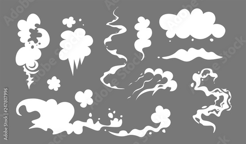 Cartoon voitures Clouds and smoke set cartoon vector iilustration