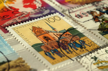 Kiev, Ukraine, February 06, 2019: Postage Stamp Of Germany. Shows 450th Anniversary Of Pforta School, Shallow Depth Of Field, Circa 1993