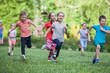 Leinwanddruck Bild - A group of happy children of boys and girls run in the Park on the grass on a Sunny summer day . The concept of ethnic friendship, peace, kindness, childhood.