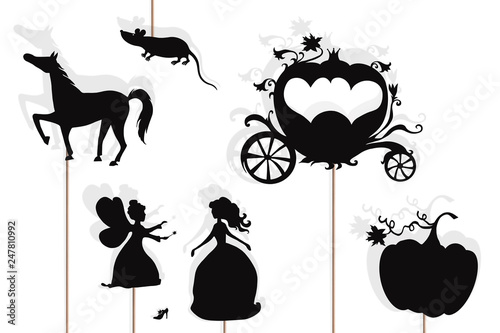 Stampa su Tela Cinderella storytelling, isolated shadow puppets.