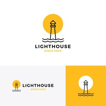 Lighthouse Logo Vector Icon Line Outline Monoline