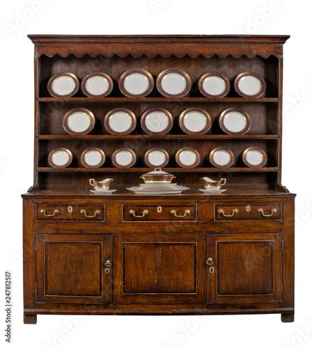 Fotografija Oak Welsh Dresser with dinner service plates cupboard sideboard