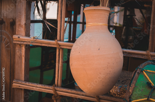 Ancient water jug made of clay used in the middle east