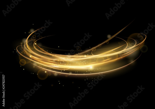 Vector illustration of golden abstract transparent light effect isolated on black background, round sparcles and light lines in golden color. Abstract background for science, futuristic, energy