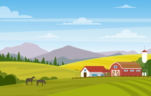 Vector Illustration Of Rural Landscape With Farm. Horses In Summer Fields And Pastures. Country Landscape With Mountains Background.