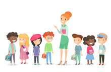 Vector Illustration Of Schoolchildren Group With Teacher Standing Together. Boys And Girls Together With Woman Teacher On White Background In Cartoon Flat Style.