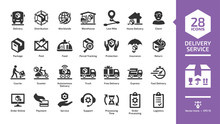 Delivery Service Glyph Icon Set With Fast Express Package Shipping, Quick Courier, Cargo Truck And Van Speed Transport, Online Order And Free Box Shipment Silhouette Symbols.