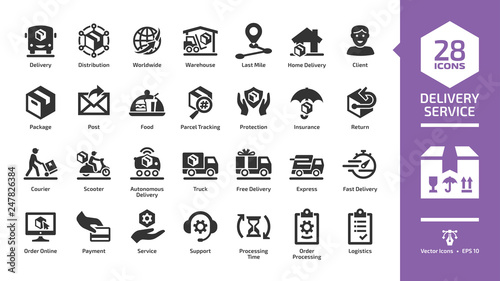 Fototapeta Delivery service glyph icon set with fast express package shipping, quick courier, cargo truck and van speed transport, online order and free box shipment silhouette symbols. obraz