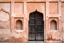 Ancient Wooden Door In Orchha Fort, India
