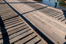 Wooden And Old Steel Bridge Make Room For Cargo Pass At Pai Mae Hong Son Thailand