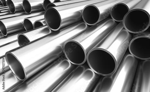 Poster de jardin Metal Set of steel pipes.