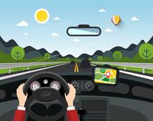 Driving Car Vector Illustratio...