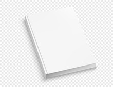 White Hardcover Book Vector Mock Up Isolated On White Background.