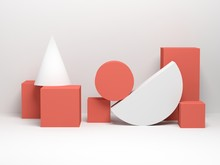 Abstract Still Life With Primitive Geometric Shapes