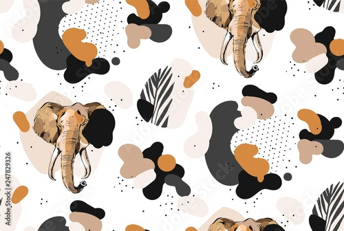 mata magnetyczna Hand drawn vector abstract creative graphic artistic illustrations seamless collage pattern with sketch elephant drawing and tropical palm leaves in tribal mottif isolated on white background