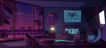 Vector Cartoon Interior Of Hotel Bedroom At Night. Living Apartment Of Tropical Resort With Window, Water Pool. Furniture - Double Bed, Carpet And Fireplace. Summer Rest. Sunset Background.