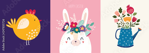 Fotografía Decorative illustration with bird, bunny, flowers in the watering can